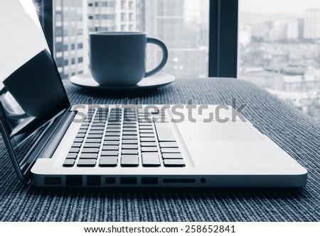 Laptop computer detail - stock photo