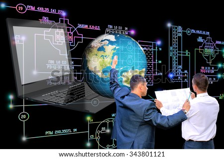 laptop,computer,globe planet earth,electrical industrial engineering scheme. - stock photo