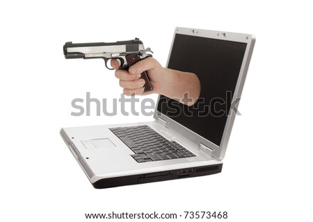 Laptop computer isolated on a white background, representing how the user is held to ransom by the software manufacturers - stock photo