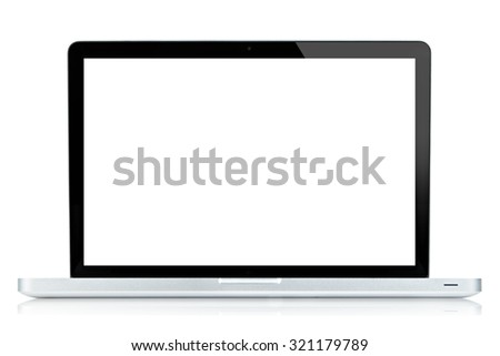 Laptop computer  isolated on white. - stock photo
