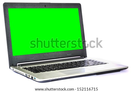 Laptop computer isolated on white background - stock photo