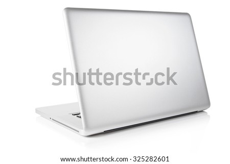 Laptop computer  isolated on white. Clipping path. - stock photo