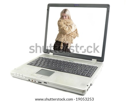 Laptop computer isolated on white, peoples, girls - stock photo