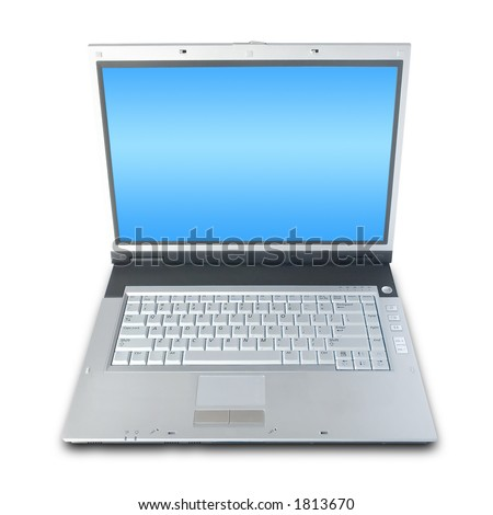 Laptop Computer Isolated Over White (clipping path included) - stock photo