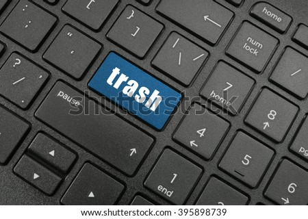 Laptop computer keyboard with button trash