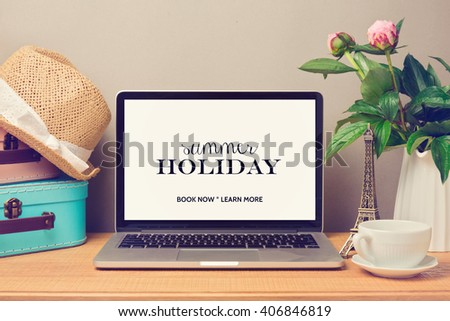 Laptop computer mock up template. Planning summer holiday vacation concept. - stock photo