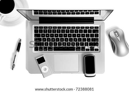 Laptop computer office still life - stock photo