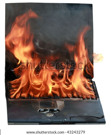 laptop computer on fire, represents computer damage, loss of data, emergency and more, isolated on white
