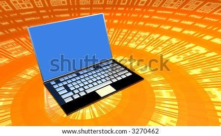 Laptop computer on orange data surface - stock photo