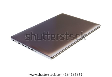 laptop computer on white background (with clipping path) - stock photo