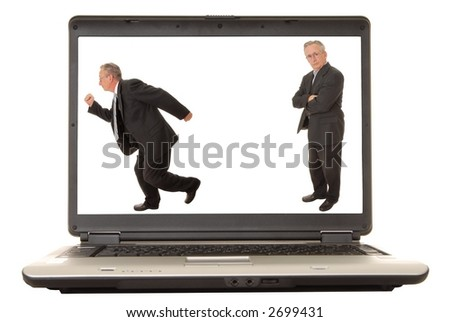 Laptop computer with a businessman on the monitor isolated - stock photo