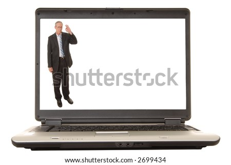 Laptop computer with a senior executive on the screen - stock photo