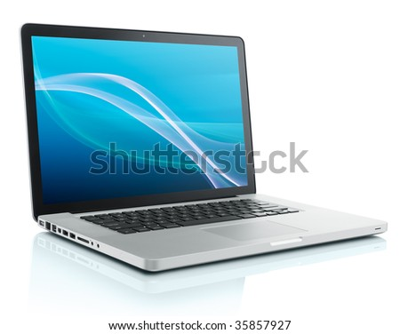 laptop computer with abstract background on monitor - stock photo
