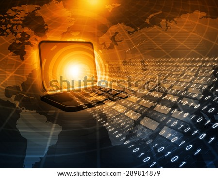 Laptop computer with binary streams, telecommunication concept   - stock photo