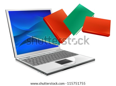 Laptop computer with books flying out of screen. Online education or ebook concept - stock photo
