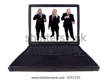 laptop computer with business men with funny expressions isolated on a white background with a clipping path - stock photo
