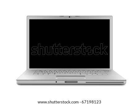 Laptop computer with clipping path. Isolated with a black screen on white background. - stock photo