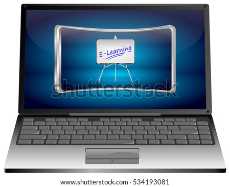 Laptop Computer with E-Learning Button - 3D illustration
