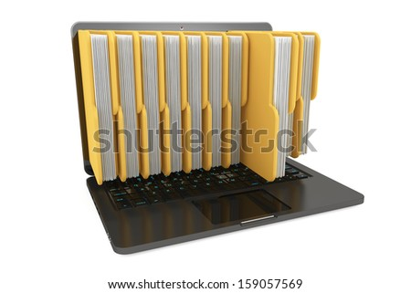 Laptop computer with folders on a white background - stock photo