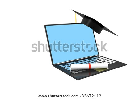 Laptop computer with graduation cap and diploma