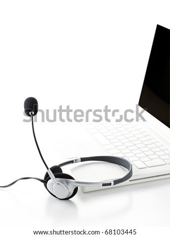 laptop computer with headset