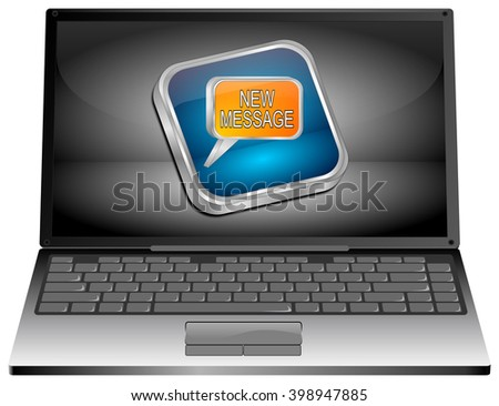 Laptop computer with new Message Button -3d - stock photo