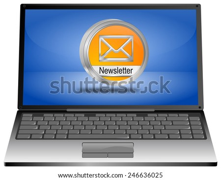 Laptop computer with Newsletter Button - stock photo