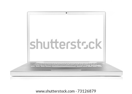 laptop computer with shadow and reflection, isolated on white. This is a photograph and not a render.
