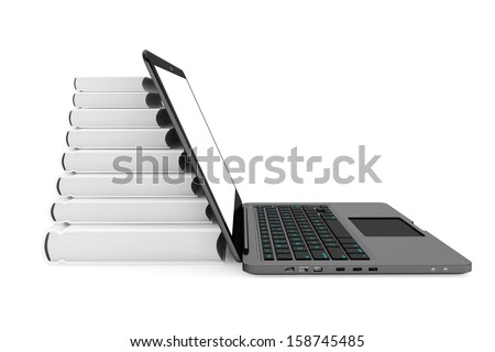 Laptop computer with stack of books on a white background