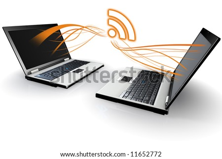 Laptop Computers communicating with RSS - stock photo