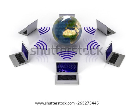 Laptop Computers Connected. Global Network Connectivity Concept with Six Computers in Wireless Network and Planet Earth in the Middle. 3D illustration at White Background - stock photo