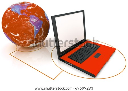 laptop connected to the world internet concept - stock photo
