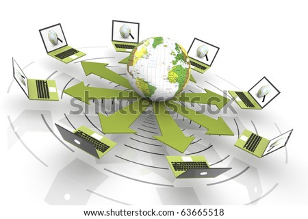 Laptop Connected To The World Wide Web - stock photo