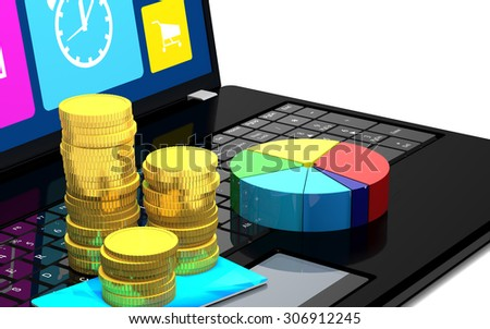 Laptop, credit card, coins and a diagram are on a white background - stock photo