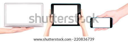 laptop, digital tablet and mobile phone with woman hand isolated