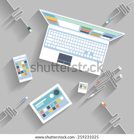 Laptop, digital tablet, smartphone with usb cables ready for connection and work flat design. Raster version - stock photo