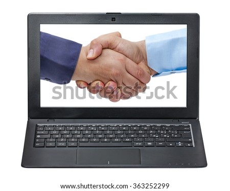 laptop displaying closeup of businessmen handshaking isolated