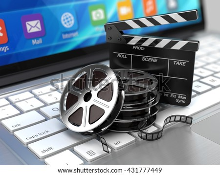 Laptop, Film and Clapper board - video icon. 3d rendering - stock photo