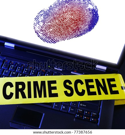 laptop fingerprint with yellow crime scene tape across it - stock photo