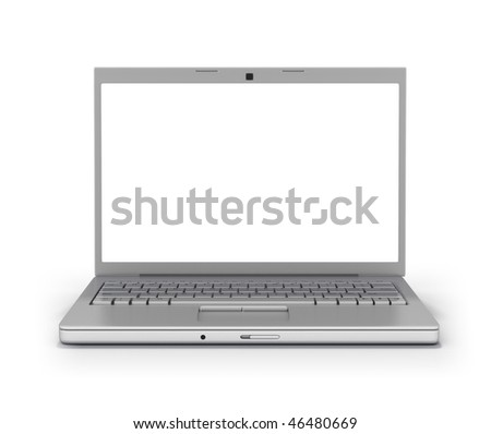 Laptop Front Facing (Clipping Path Screen & Outline)  Isolated on White Background - stock photo