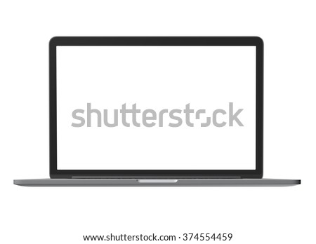 Laptop - front view. isolated on white background - stock photo
