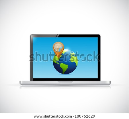 laptop globe and pointer illustration design over a white background