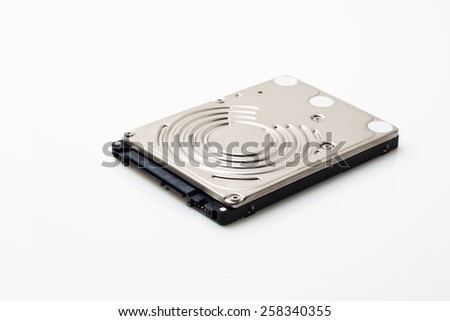 Laptop hard disk on white background
