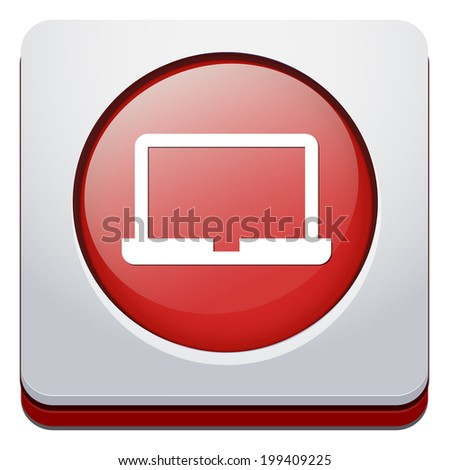 Laptop Icon on Round Button - stock photo