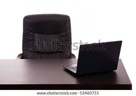 Laptop in a office desk, on white background - stock photo