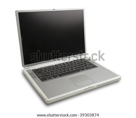 laptop in silver on white with shadow and clipping path