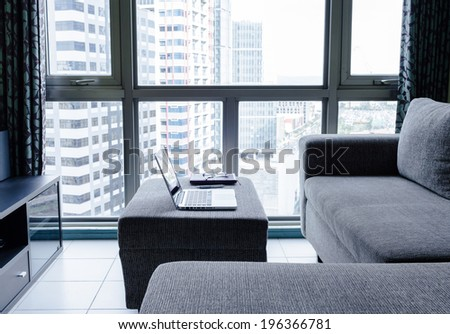 Laptop in the office. - stock photo