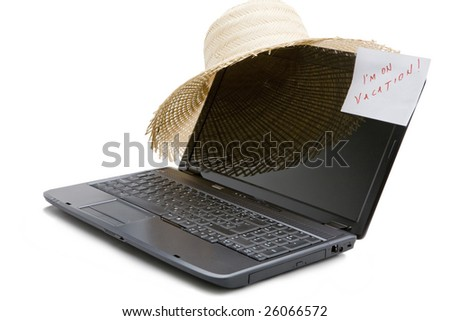 Laptop is switch of - I'm on vacation! - stock photo