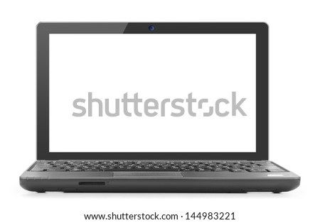 Laptop isolated against a white background. - stock photo