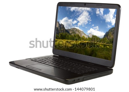 Laptop isolated on a white background.